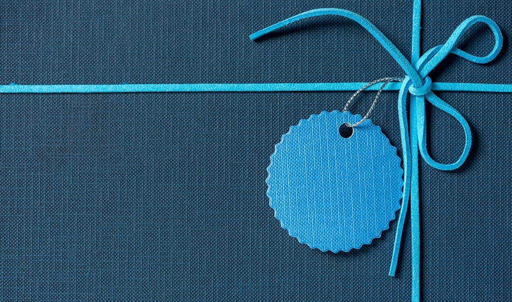 Blue gift with name tag