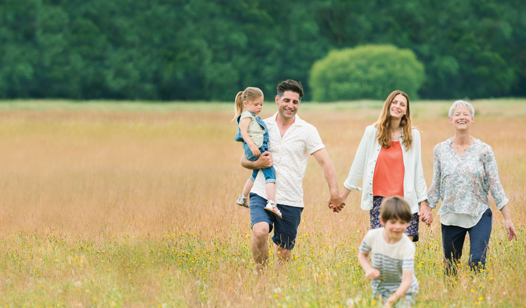 Family in field